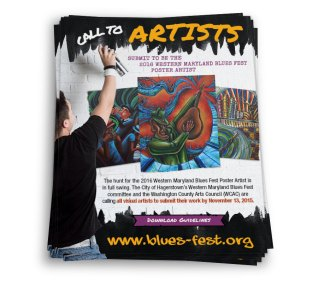 Flier design for the annual Western Maryland Blues Fest's call to artists, as part of the team at Icon Graphics.